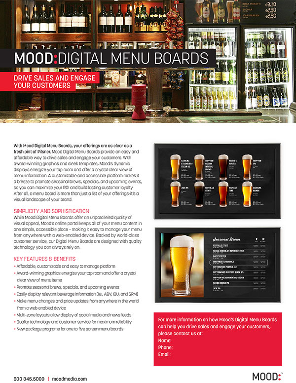 Mood Digital Menu Board One Sheet-Brewery