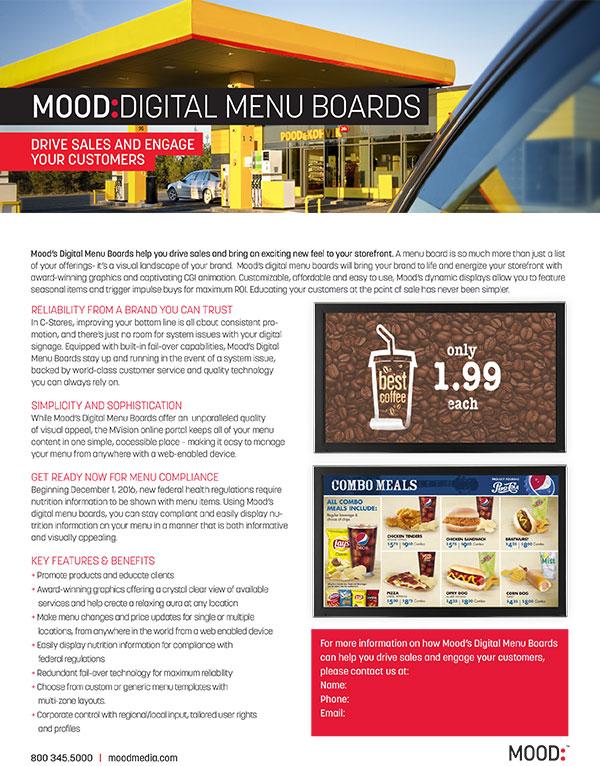 Mood Digital Menu Board One Sheet-C-Store