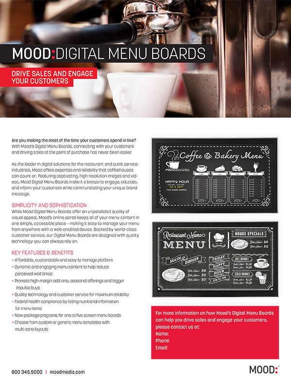 Mood Digital Menu Board One Sheet-Coffee