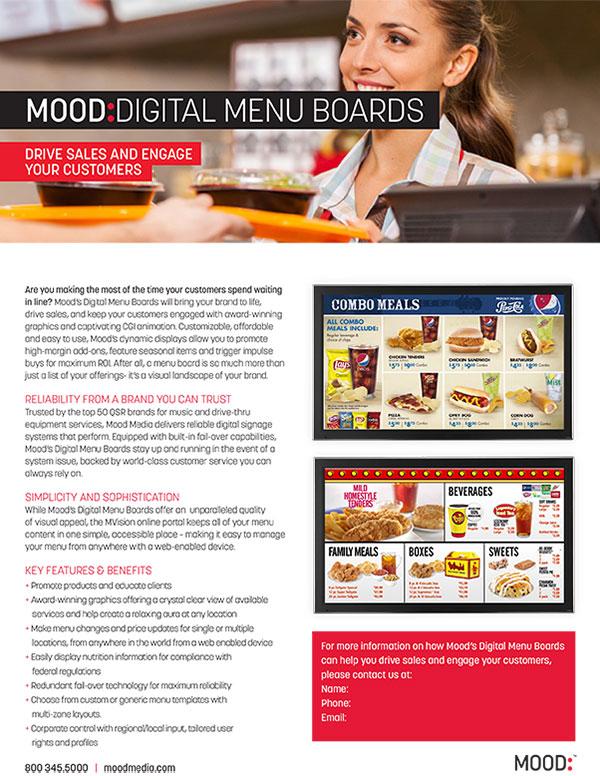 Mood Digital Menu Board One Sheet-QSR