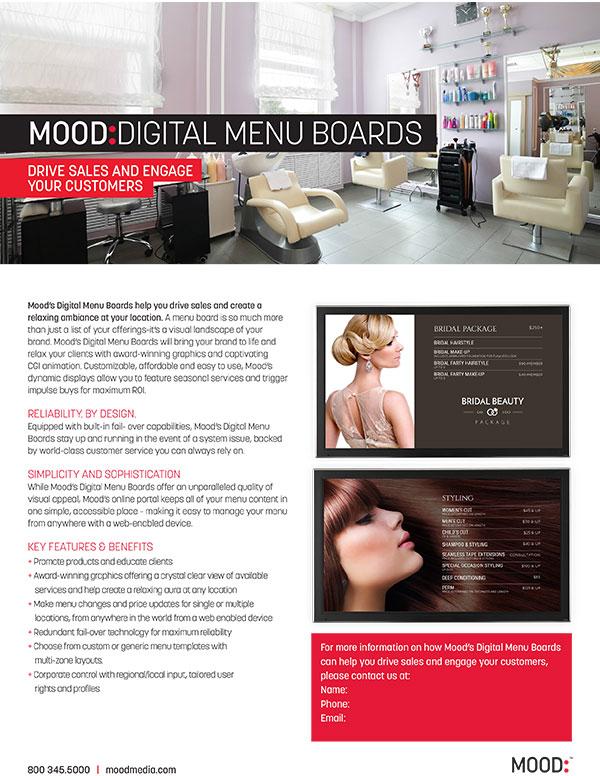 Mood Digital Menu Board One Sheet-Spa Salon